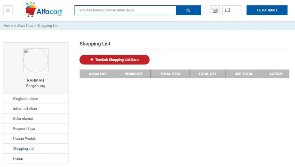 alfacart shopping list